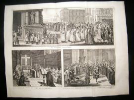 Picart C1730 LG Folio Antique Print. Religious Catholic Funeral Procession